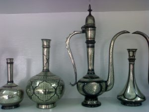 Bidriware vases and decanter