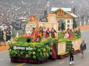 The tableau of Himachal Pradesh featuring a Chamba Rumal installation at the Republic Day Parade 2017 in New Delhi