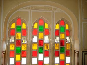 The coloured glass windows in one of the chambers. Source: Wikipedia