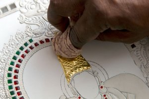 Gold foil embossed on a painting