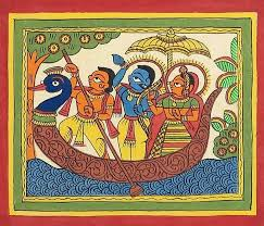 A Phad painting depicting mythological scenes